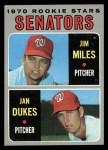 1970 Topps #154  Senators Rookie Stars  -  Jan Dukes / Jim Miles Front Thumbnail