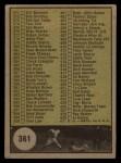 1961 Topps #361 BLK Checklist 5  Back Thumbnail