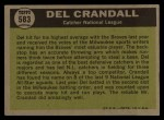 1961 Topps #583  All-Star  -  Del Crandall Back Thumbnail