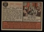 1962 Topps #292   Jerry Kindall Back Thumbnail