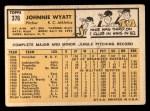 1963 Topps #376 ERR  John Wyatt Back Thumbnail