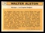 1963 Topps #154   Walter Alston Back Thumbnail