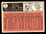 1966 Topps #94   Matty Alou Back Thumbnail