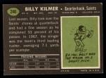1969 Topps #240   Bill Kilmer Back Thumbnail