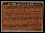 1972 Topps #312  In Action  -  Clay Carroll Back Thumbnail