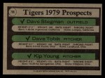 1979 Topps #706   Tigers Prospects     -  Dave Stegman / Dave Tobik / Kip Young Back Thumbnail