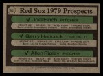 1979 Topps #702  Red Sox Prospects    -  Joel Finch / Garry Hancock / Allen Ripley Back Thumbnail