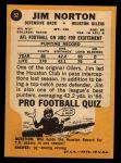 1967 Topps #52  Jim Norton  Back Thumbnail