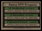 1979 Topps #725  Padres Prospects    -  Jim Beswick / Steve Mura / Broderick Perkins Back Thumbnail