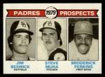 1979 Topps #725  Padres Prospects    -  Jim Beswick / Steve Mura / Broderick Perkins Front Thumbnail