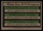 1979 Topps #704  White Sox Prospects    -  Ross Baumgarten / Mike Colbern / Mike Squires Back Thumbnail