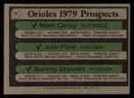 1979 Topps #701   Orioles Prospects    -  Mark Corey / John Flinn / Sammy Stewart Back Thumbnail
