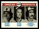 1979 Topps #701   Orioles Prospects    -  Mark Corey / John Flinn / Sammy Stewart Front Thumbnail