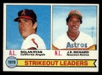 1979 Topps #6  Strikeout Leaders    -  J.R. Richard / Nolan Ryan Front Thumbnail