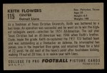 1952 Bowman Large #115   Keith Flowers Back Thumbnail