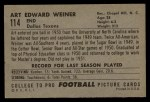 1952 Bowman Large #114   Art Weiner Back Thumbnail