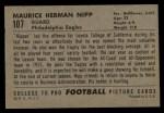 1952 Bowman Large #107  Maurice Nipp  Back Thumbnail