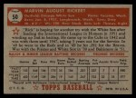 1952 Topps #50 RED  Marv Rickert Back Thumbnail