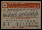 1952 Topps #68 RED  Cliff Chambers Back Thumbnail