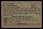 1952 Bowman Large #17   Y.A. Tittle Back Thumbnail
