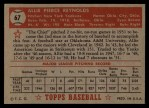 1952 Topps #67 RED  Allie Reynolds Back Thumbnail