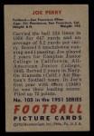 1951 Bowman #105   Joe Perry Back Thumbnail