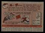 1958 Topps #457   Milt Pappas Back Thumbnail