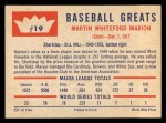 1960 Fleer #19  Marty Marion  Back Thumbnail