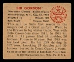1950 Bowman #109  Sid Gordon  Back Thumbnail