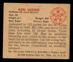 1950 Bowman #190  Ken Wood  Back Thumbnail