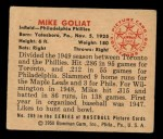 1950 Bowman #205  Mike Goliat  Back Thumbnail
