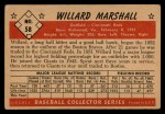 1953 Bowman #58  Willard Marshall  Back Thumbnail