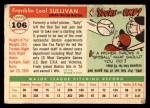 1955 Topps #106   Frank Sullivan Back Thumbnail