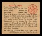 1950 Bowman #196  Doyle Lade  Back Thumbnail