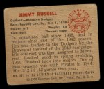 1950 Bowman #223  Jim Russell  Back Thumbnail