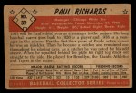 1953 Bowman #39  Paul Richards  Back Thumbnail