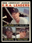 1964 Topps #2  1963 AL ERA League Leaders  -  Gary Peters / Juan Pizarro / Camilo Pascual Front Thumbnail