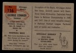 1954 Bowman #116   George Connor Back Thumbnail