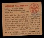 1950 Bowman #14  George Taliaferro  Back Thumbnail