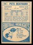 1968 Topps #198  Pete Beathard  Back Thumbnail