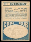 1968 Topps #187  Jim Katcavage  Back Thumbnail