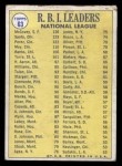 1970 Topps #63  1969 NL RBI Leaders  -  Willie McCovey / Tony Perez / Ron Santo Back Thumbnail