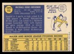 1970 Topps #193  Mike Wegener  Back Thumbnail