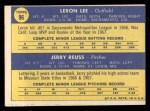 1970 Topps #96  Cardinals Rookie Stars  -  Leron Lee / Jerry Reuss Back Thumbnail