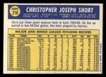 1970 Topps #270   Chris Short Back Thumbnail