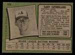 1971 Topps #434   Gary Sutherland Back Thumbnail