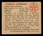 1950 Bowman #82  Whitey Lockman  Back Thumbnail