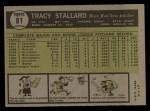 1961 Topps #81   Tracy Stallard Back Thumbnail