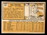 1963 Topps #301   Bill Fischer Back Thumbnail