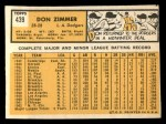 1963 Topps #439 A  Don Zimmer Back Thumbnail